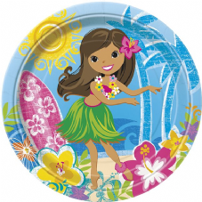 8 Luau Hula Beach Summer Paper Party Plates